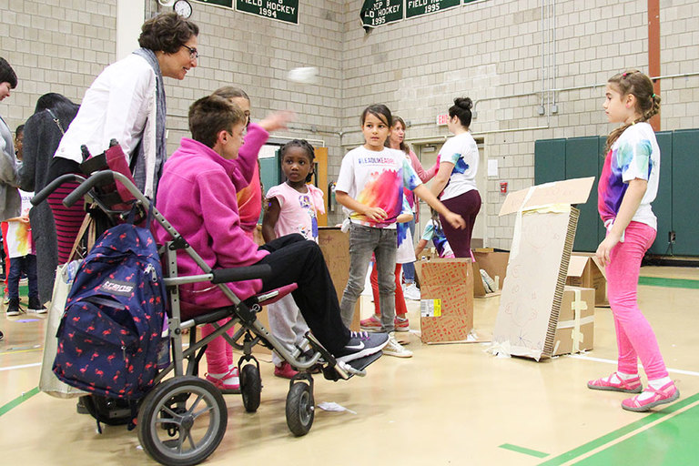 Special guests test engineering skills of Stuart girls at Cardboard Challenge