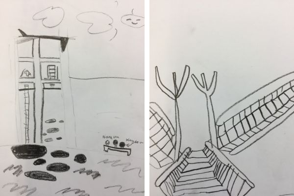 Drawing series in fourth grade reflects a study of Jean Labatut's architectural design aesthetic