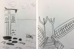 Drawing series in Lower School art classes include self portraits and a study of Jean Labatut's architecture