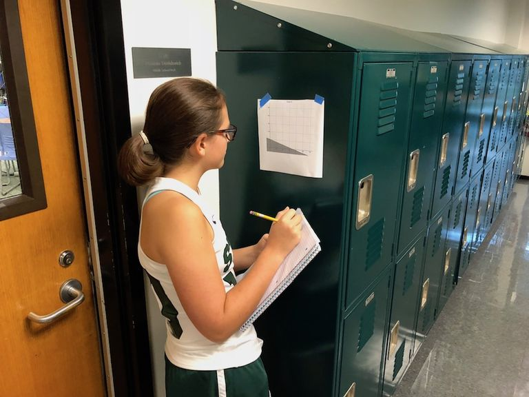 Eighth grade math students go on an algebra scavenger hunt