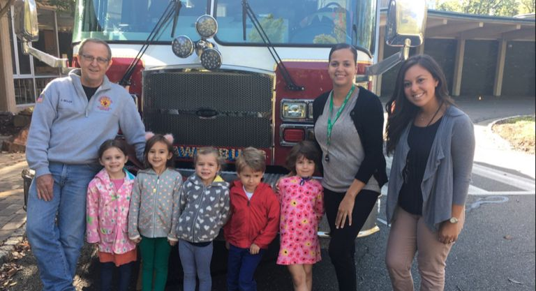 Early Childhood students learn about fire safety from Montgomery Township firefighters