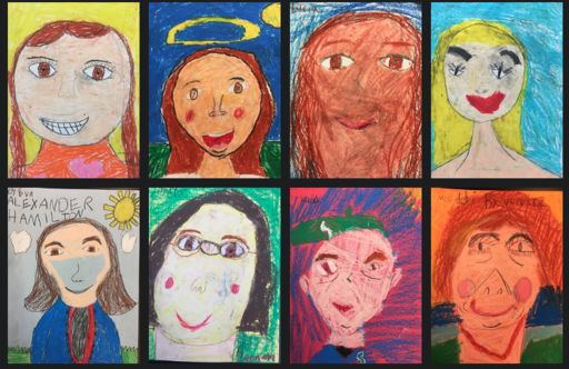 Second graders complete portraits as part of their community research project