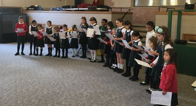 Lower School students bring holiday cheer to local senior living centers