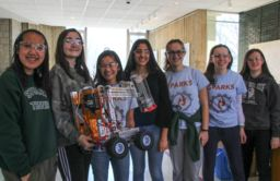 The Sparks Robotics team hosts demo of their FTC competition robot for students of all ages