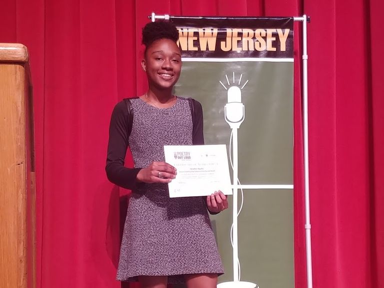 Heather Kwafo places in the top ten in New Jersey's Region One Poetry Out Loud competition