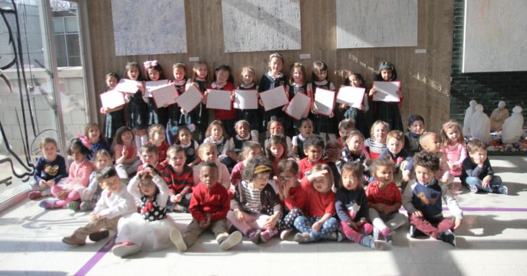 Kindergarteners celebrate love and friendship at Valentine's Day prayer service