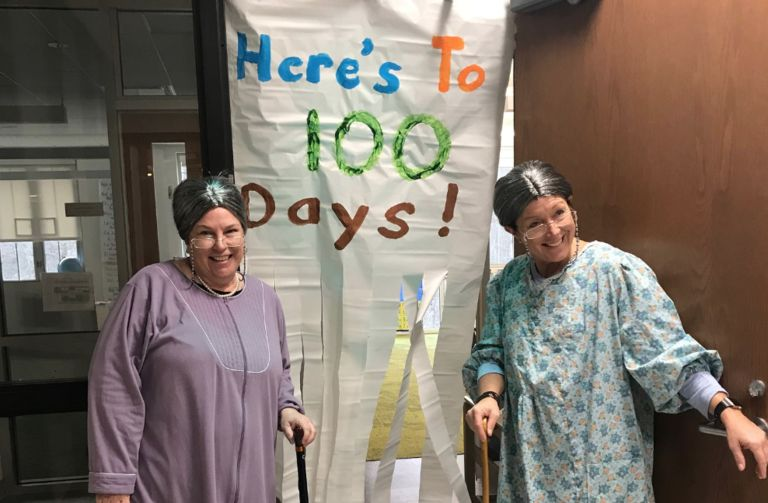Lower School teachers age a century for 100th Day of School celebration