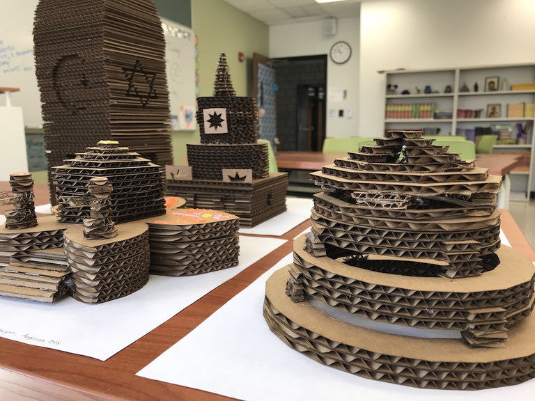 Eighth grade theology students design and build 3D houses of worship