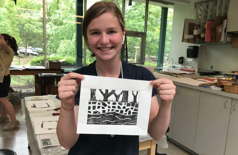 Eighth grade artists take inspiration from the Stuart landscape for linoleum print project