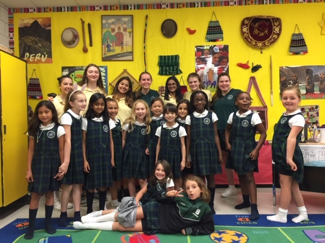 Lower School Spanish class receives a special gift from eighth graders